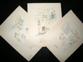 Gazette du Bon Ton by Goudiachvili 1925 Art Deco Lithos. Set of 3. Town scenes